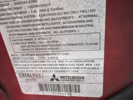 2002 MITSUBISHI GALANT ES BURGUNDY 2.4L AT 173815