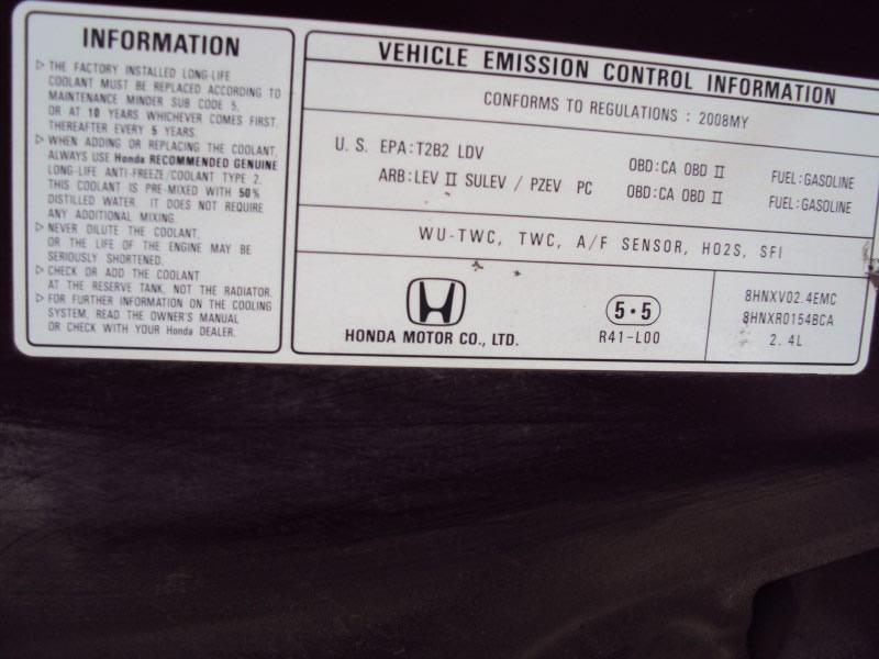 2008 Honda Accord 4 Door Sedan Lx P Model 2 4l At Fwd Color Burgundy
